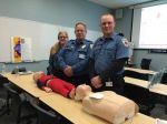 EMS Seminar presented by Belleplain Emergency Corps. Demonstrators from Belleplain L-R Donna Raffa, Steve Shaw, and Bruce Knoll Jr.