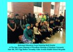 Holocaust Education Event featuring Ruth Kessler at The Sam Azeez Museum of Woodbine Heritage of Stockton University. June 4th, 2015. Egg Harbor Township Alder Avenue Middle School 8th Grade
